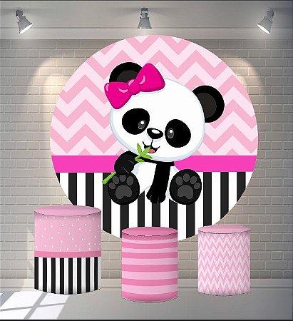 Kit Painel Redondo De Festa e Capas de Cilindro em tecido sublimado Panda Rosa