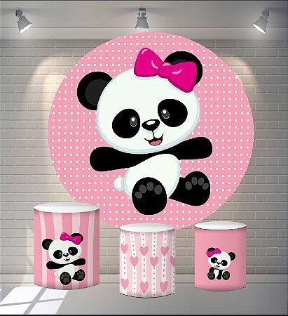 Kit Painel Redondo De Festa e Capas de Cilindro em tecido sublimado Panda Bolinhas