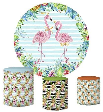 Kit Painel Redondo De Festa e Capas de Cilindro em tecido sublimado Flamingo Aquarela