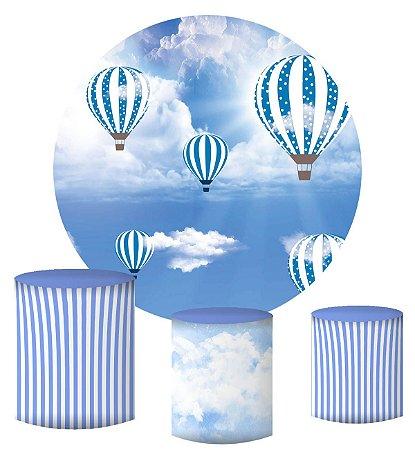 Kit Painel Redondo De Festa e Capas de Cilindro em tecido sublimado Balões