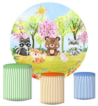 Kit Painel Redondo De Festa e Capas de Cilindro em tecido sublimado Bosque da Primavera