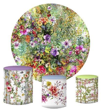 Kit Painel Redondo De Festa e Capas de Cilindro em tecido sublimado Flores Aquarela