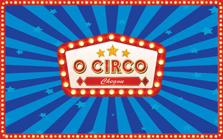 Painel de Festa em Tecido Sublimado 3d Circo Mágico Chegou