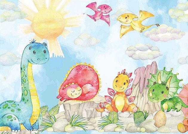 Painel de Festa em Tecido Sublimado 3d Dinossauros Baby Aquarela Azul