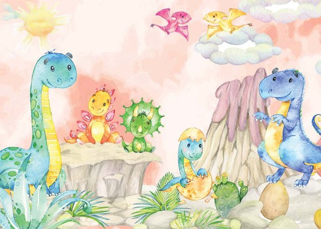 Painel de Festa em Tecido Sublimado 3d Dinossauros Baby Aquarela Rosa