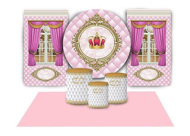 Super Kit Painel De Festa e Capas de Cilindro em tecido sublimado Realeza Rosa