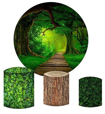 Kit Painel Redondo De Festa e Capas de Cilindro em tecido sublimado Floresta Mágica