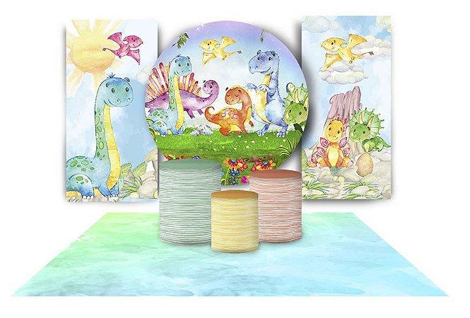 Super Kit Painel De Festa e Capas de Cilindro em tecido sublimado Dinossauros Baby