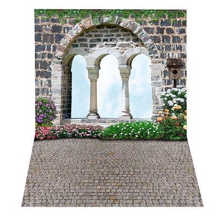Fundo Fotográfico em Tecido Sublimado Arco de Pedra do Jardim