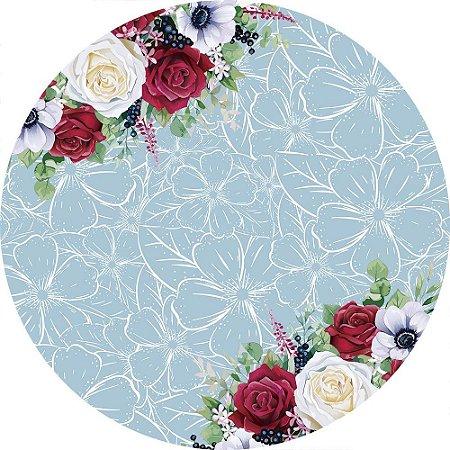 Painel de Festa Redondo em Tecido Sublimado Enfeite de Flores c/elástico