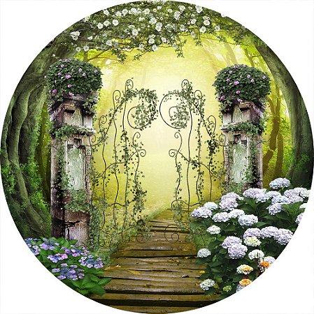 Painel de Festa Redondo em Tecido Sublimado Portal da Floresta com Flores c/elástico