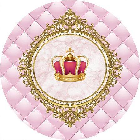 Painel de Festa Redondo em Tecido Sublimado Realeza Coroa Fundo Rosa c/elástico