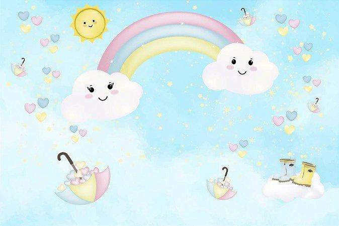 Painel de Festa em Tecido Sublimado 3d Céu Chuva de Amor