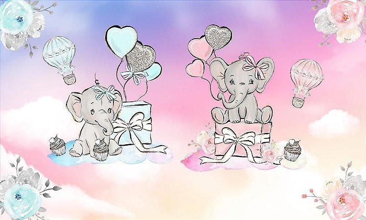 Painel de Festa em Tecido Sublimado 3d Elefantinhos Presentinhos