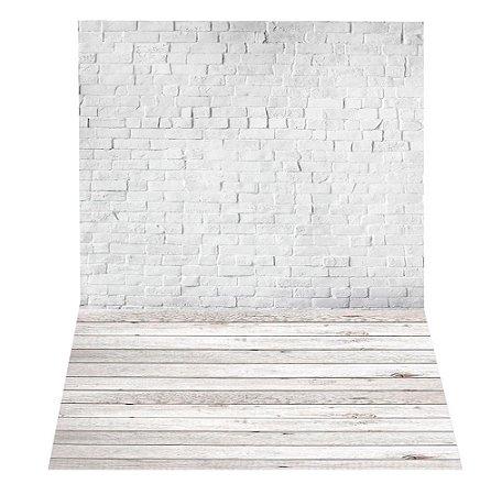 Fundo Fotográfico em Tecido Sublimado Muro de Tijolos e Madeira Branca