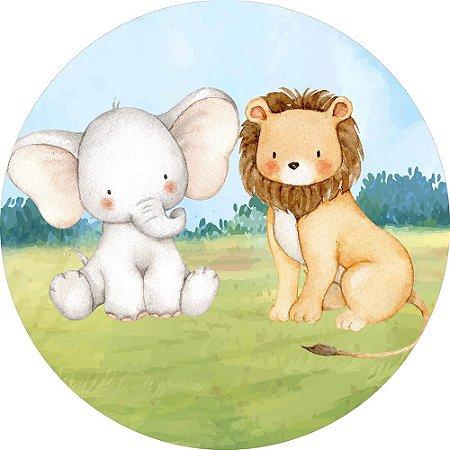 Painel de Festa Redondo em Tecido Sublimado Safari Elefantinho e Leão c/elástico