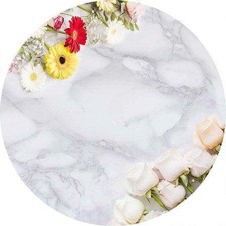 Painel de Festa Redondo em Tecido Sublimado Flores Coloridas e Mármore c/elástico