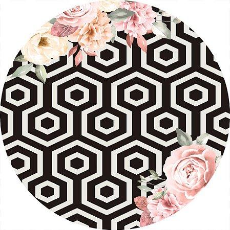Painel de Festa Redondo em Tecido Sublimado Fundo geométrico com Flores Rosas c/elástico