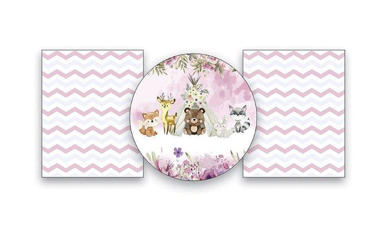 Kit Mini Table Painel de festa em tecido sublimado Bosque Rosa 50cm