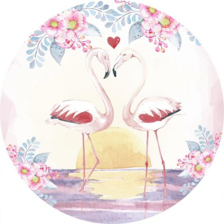Painel de Festa Redondo em Tecido Sublimado Flamingos Pôr do Sol c/elástico