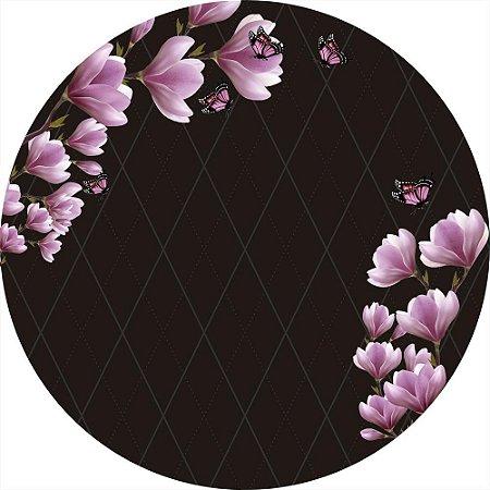 Painel de Festa Redondo em Tecido Sublimado Flores Rosas e Borboletas c/elástico