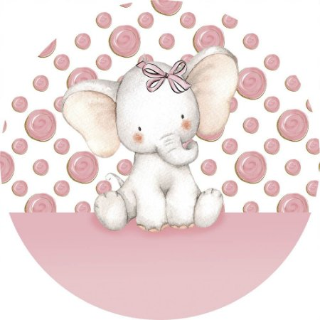 Painel de Festa Redondo em Tecido Sublimado Elefantinho Rosa com lacinho c/elástico