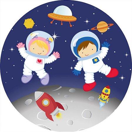 Painel de Festa Redondo em Tecido Sublimado Astronautas Cute Lua c/elástico