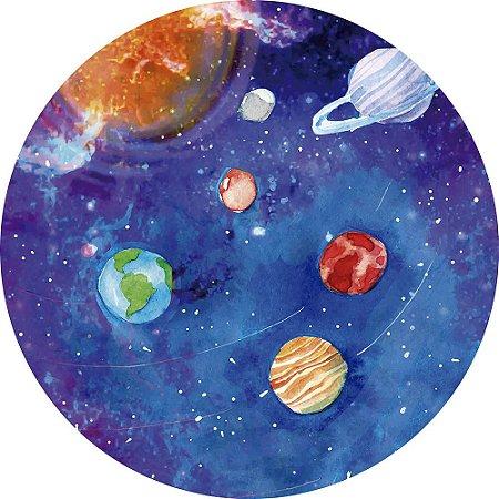 Painel de Festa Redondo em Tecido Sublimado Planetas Aquarela c/elástico
