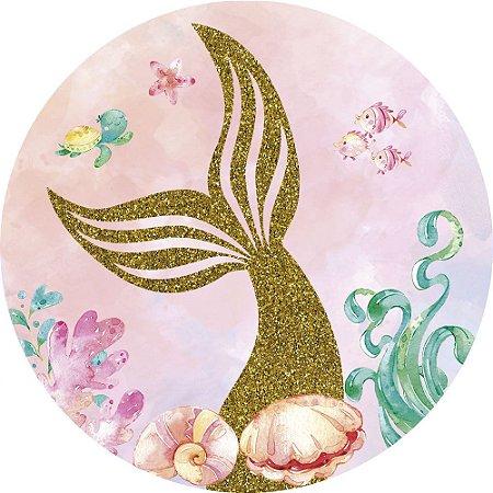Painel de Festa Redondo em Tecido Sublimado Cauda de Sereia Glitter c/elástico