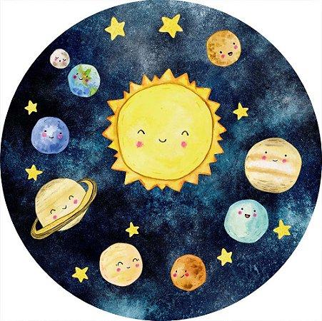 Painel de Festa Redondo em Tecido Sublimado Planetas Aquarela Cute c/elástico