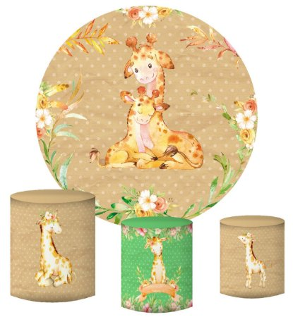 Kit Painel Redondo De Festa e Capas de Cilindro em tecido Girafinha Aquarela