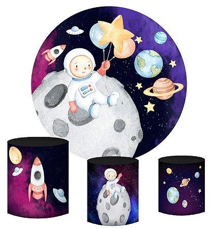 Kit Painel Redondo De Festa e Capas de Cilindro em tecido Astronauta Lua Aquarela