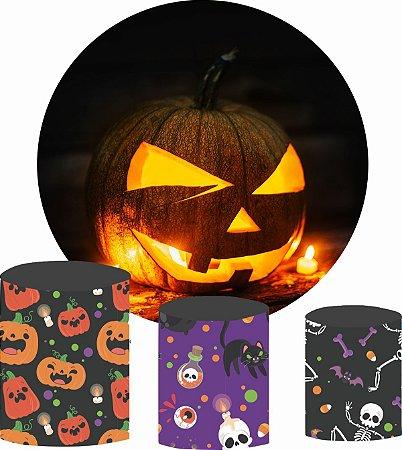 Kit Painel Redondo De Festa e Capas de Cilindro em tecido Noite de Halloween