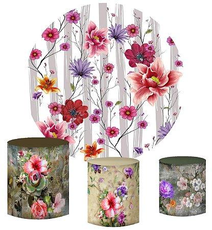 Kit Painel Redondo De Festa e Capas de Cilindro em tecido Pintura de Flores