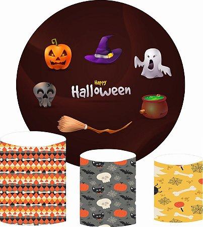 Kit Painel Redondo De Festa e Capas de Cilindro em tecido Happy Halloween