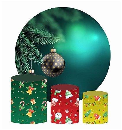 Kit Painel Redondo De Festa e Capas de Cilindro em tecido Bolinha de Natal