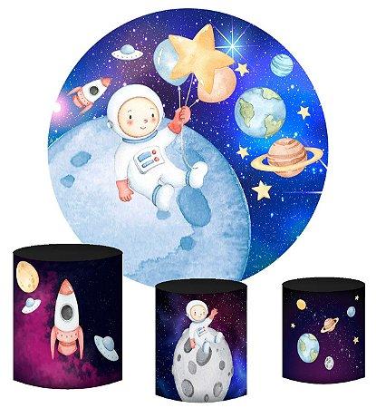 Kit Painel Redondo De Festa e Capas de Cilindro em tecido Lindo Astronauta Aquarela