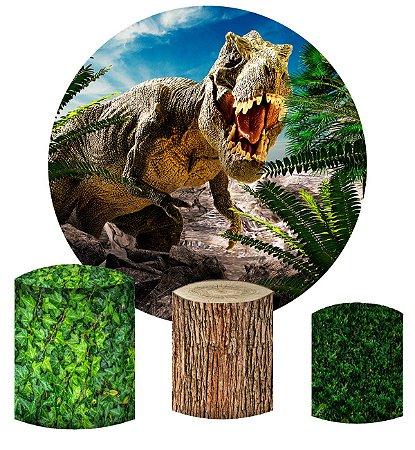 Kit Painel Redondo De Festa e Capas de Cilindro em tecido Dinossauro e Folhas