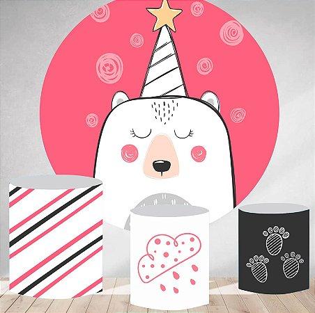 Kit Painel Redondo De Festa e Capas de Cilindro em tecido Aniver Panda