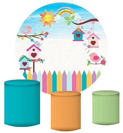 Kit Painel Redondo De Festa e Capas de Cilindro em tecido Passarinhos Coloridos