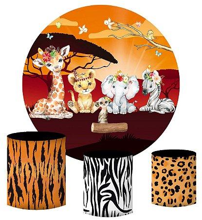 Kit Painel Redondo De Festa e Capas de Cilindro em tecido Safari Sunshine