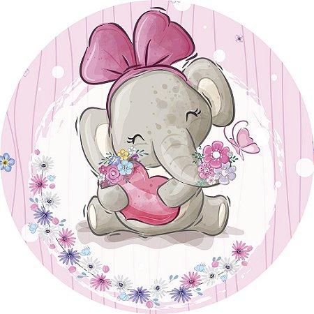 Painel de Festa Redondo em Tecido Sublimado Elefantinha Lacinho Rosa