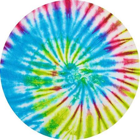 Painel de Festa Redondo em Tecido Sublimado Espiral Tie Dye