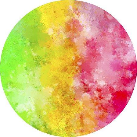 Painel de Festa Redondo em Tecido Sublimado Fundo Tie Dye