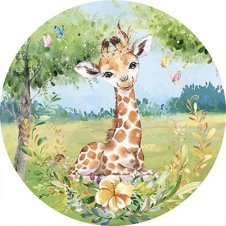 Painel de Festa Redondo em Tecido Sublimado Girafinha Safari Aquarela