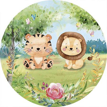 Painel de Festa Redondo em Tecido Sublimado Leão e Tigre do Safari