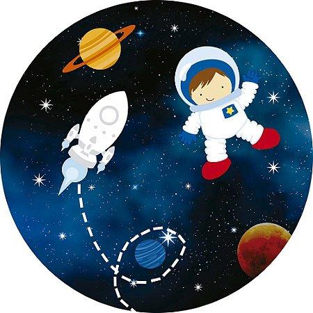 Painel de Festa Redondo em Tecido Sublimado Astronauta Foguete