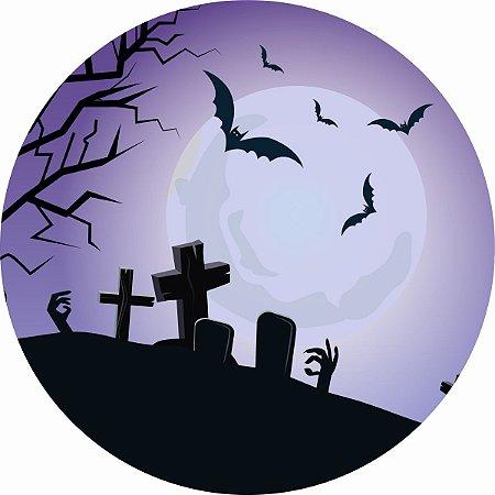 Painel de Festa Redondo em Tecido Sublimado Lua Cemitério Halloween