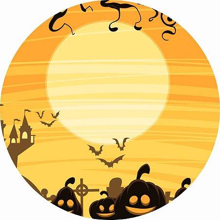 Painel de Festa Redondo em Tecido Sublimado Lua do Halloween