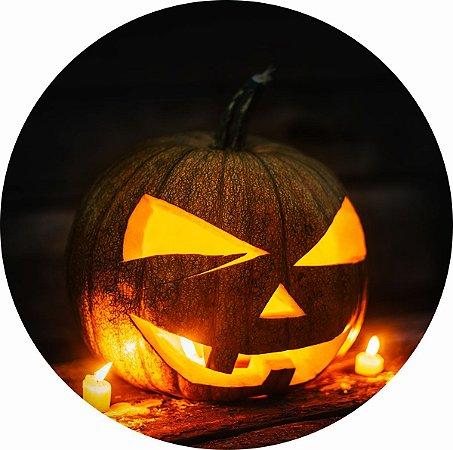 Painel de Festa Redondo em Tecido Sublimado Noite de Halloween